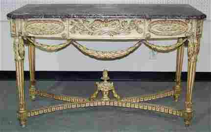 18/19th C. Ornate French / Italian Marble Top Console