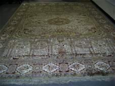 Very Fine Vintage Figural Persian Silk Tabriz Rug 14' x