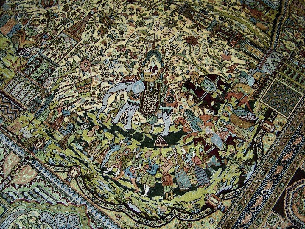 Very Fine Vintage Figural Persian Silk Tabriz Rug 14' x - 6