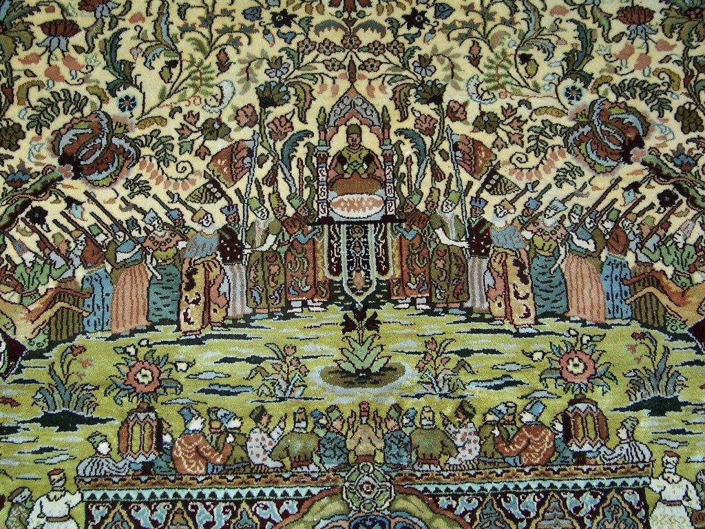 Very Fine Vintage Figural Persian Silk Tabriz Rug 14' x - 7