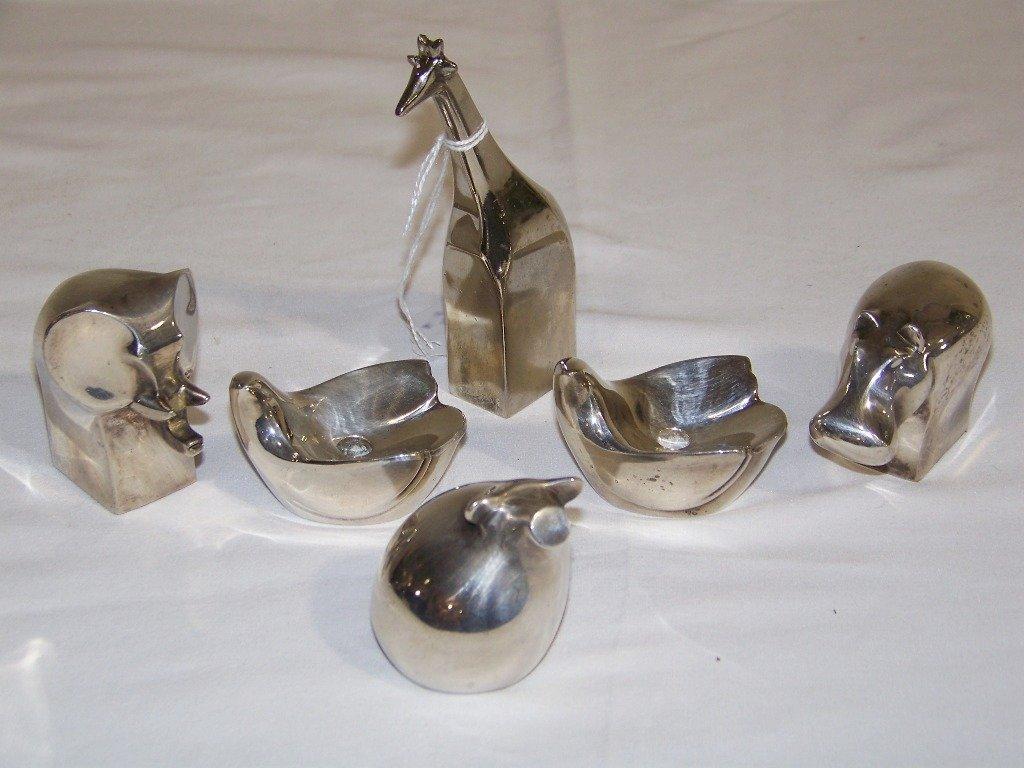 6 Vintage Dansk Silver Plated Animals & Candle Holders.