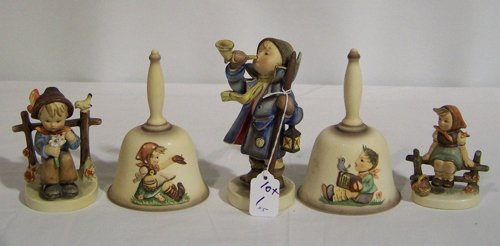 5 Early M.J. Hummel's 3 Figures & 2 Bells 1978 & 79