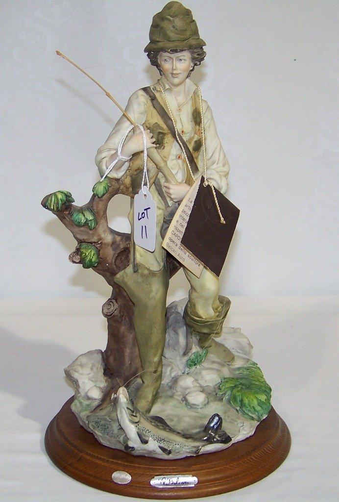 "Vintage Signed ""Auro Belcari"" Fisherman Sculpture"