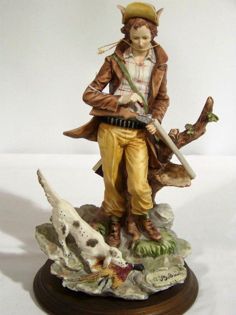 """Vintage Signed """"Auro Belcari"""" Hunter w/Dog Sculpture"""