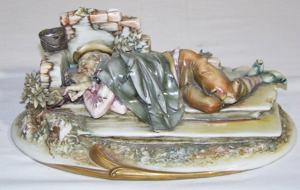 """Vintage Italian """"A.Borsato"""" Porcelain Figure Hobo on Be"""