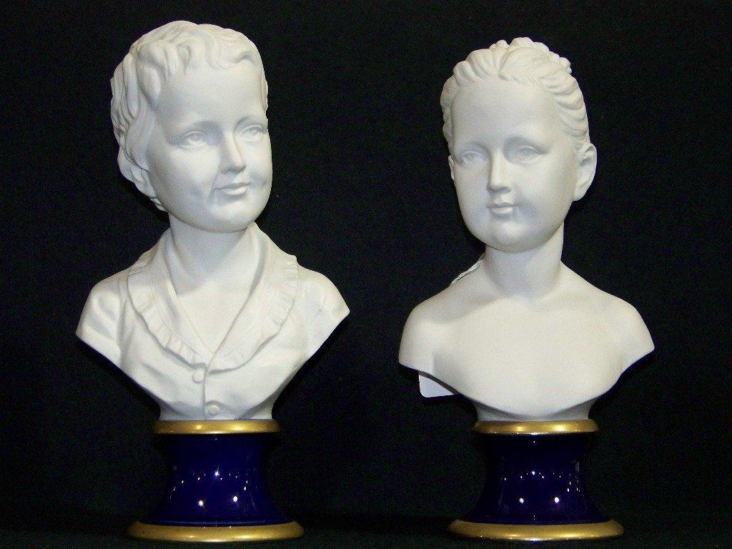 "Pair Vintage Signed ""Pucci"" Porcelain Busts By KPM"