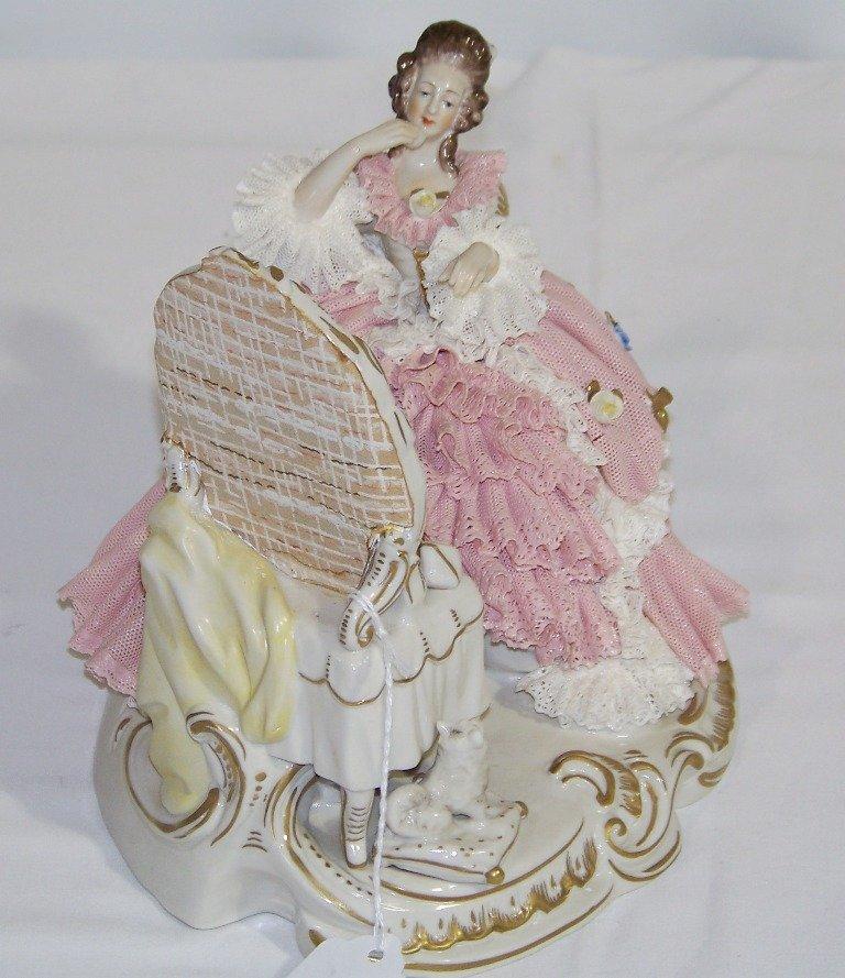 Vintage German Porcelain Figure of Lady at Vanity