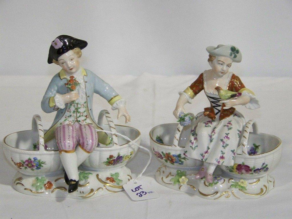 Pair Vintage Dresden Figural Salt Cellars Boy & Girl