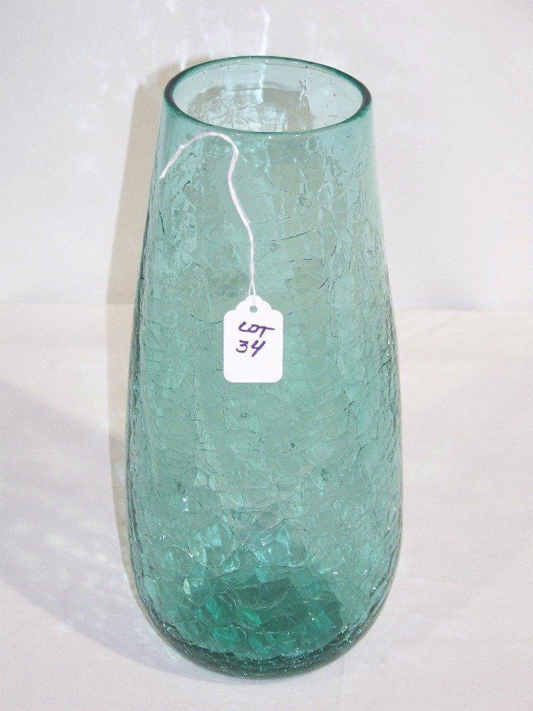 """Early Blenko Crackle Glass Vase 12 1/2"""" Tall"""