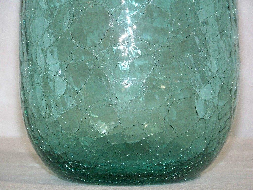 """Early Blenko Crackle Glass Vase 12 1/2"""" Tall - 2"""