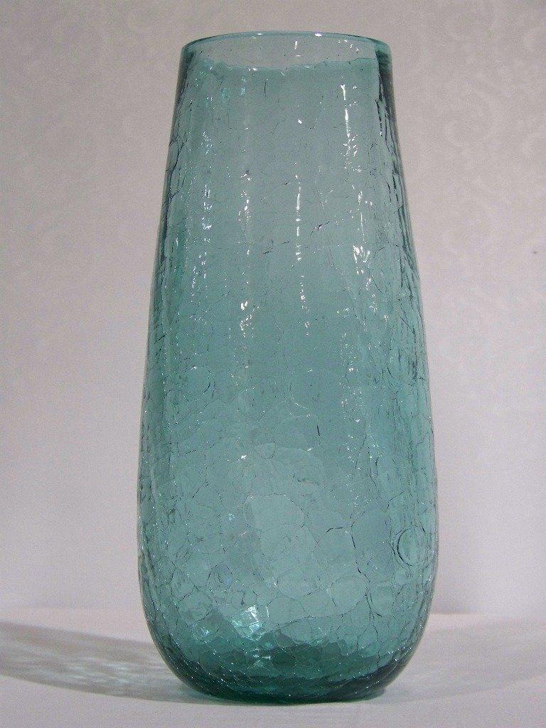 """Early Blenko Crackle Glass Vase 12 1/2"""" Tall - 4"""