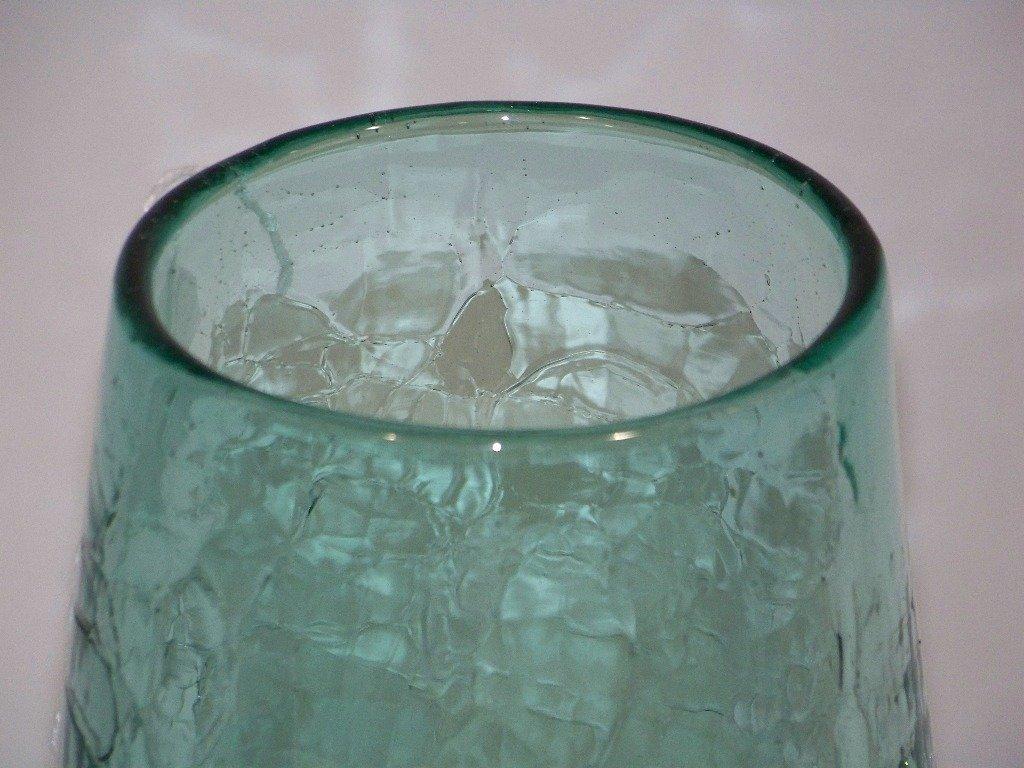 """Early Blenko Crackle Glass Vase 12 1/2"""" Tall - 5"""