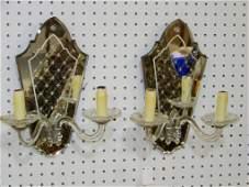 Pair Vintage Mirrored Back 2 Light Sconces