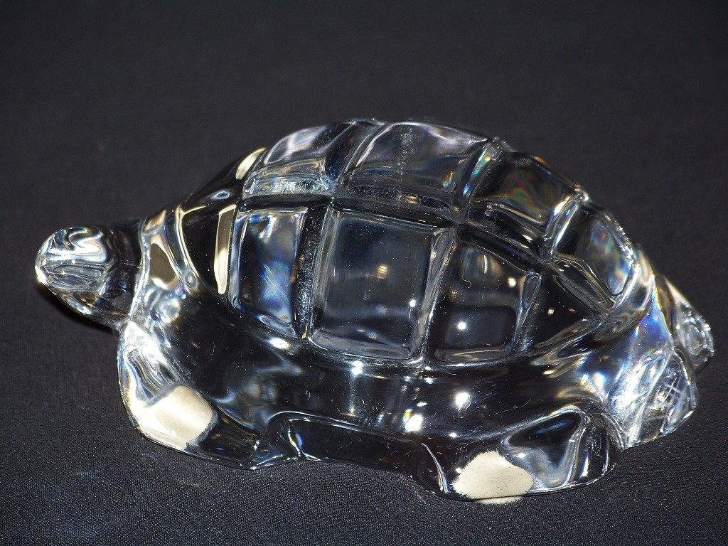 Retired Baccarat Crystal Turtle Figurine Paperweight