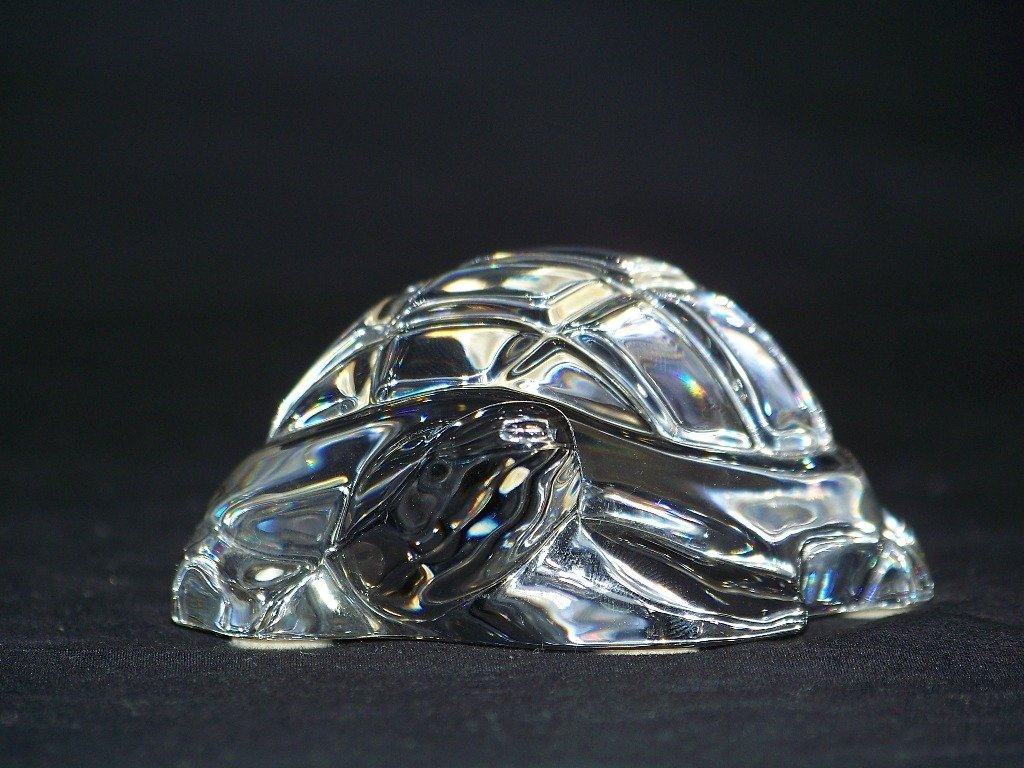 Retired Baccarat Crystal Turtle Figurine Paperweight - 2