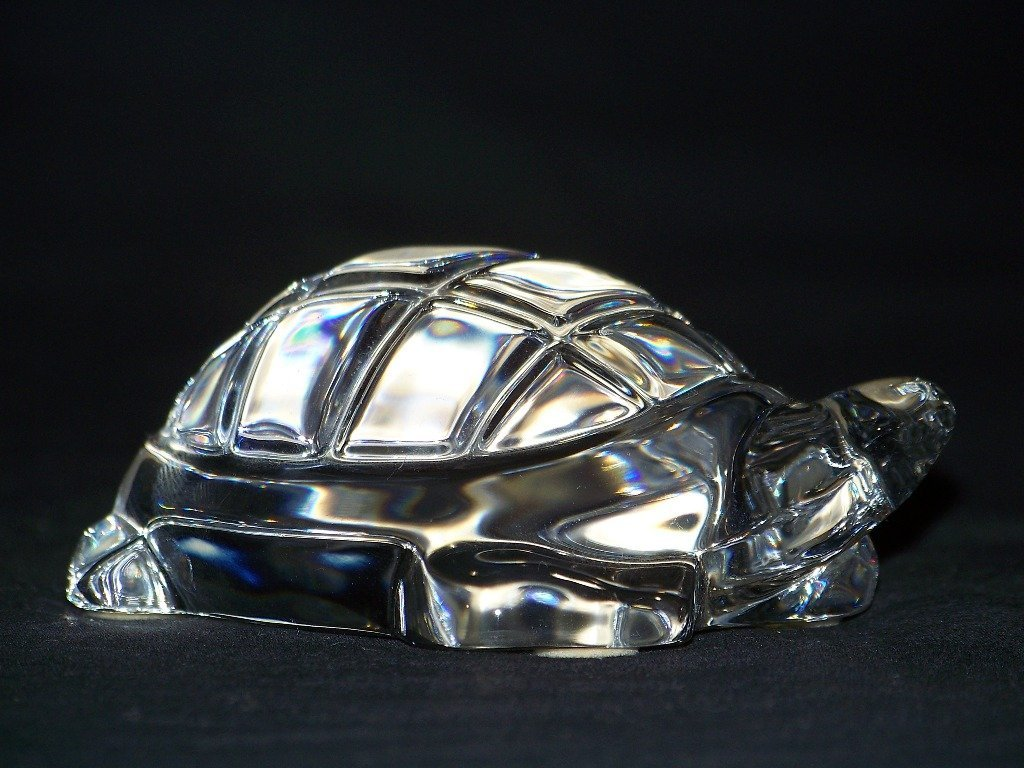 Retired Baccarat Crystal Turtle Figurine Paperweight - 3