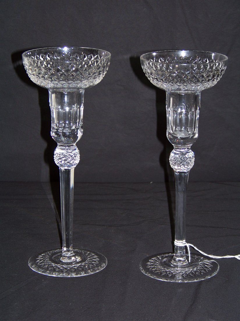 "A Fine Pair of Waterford Quality Crystal 9 1/2"" Candle"