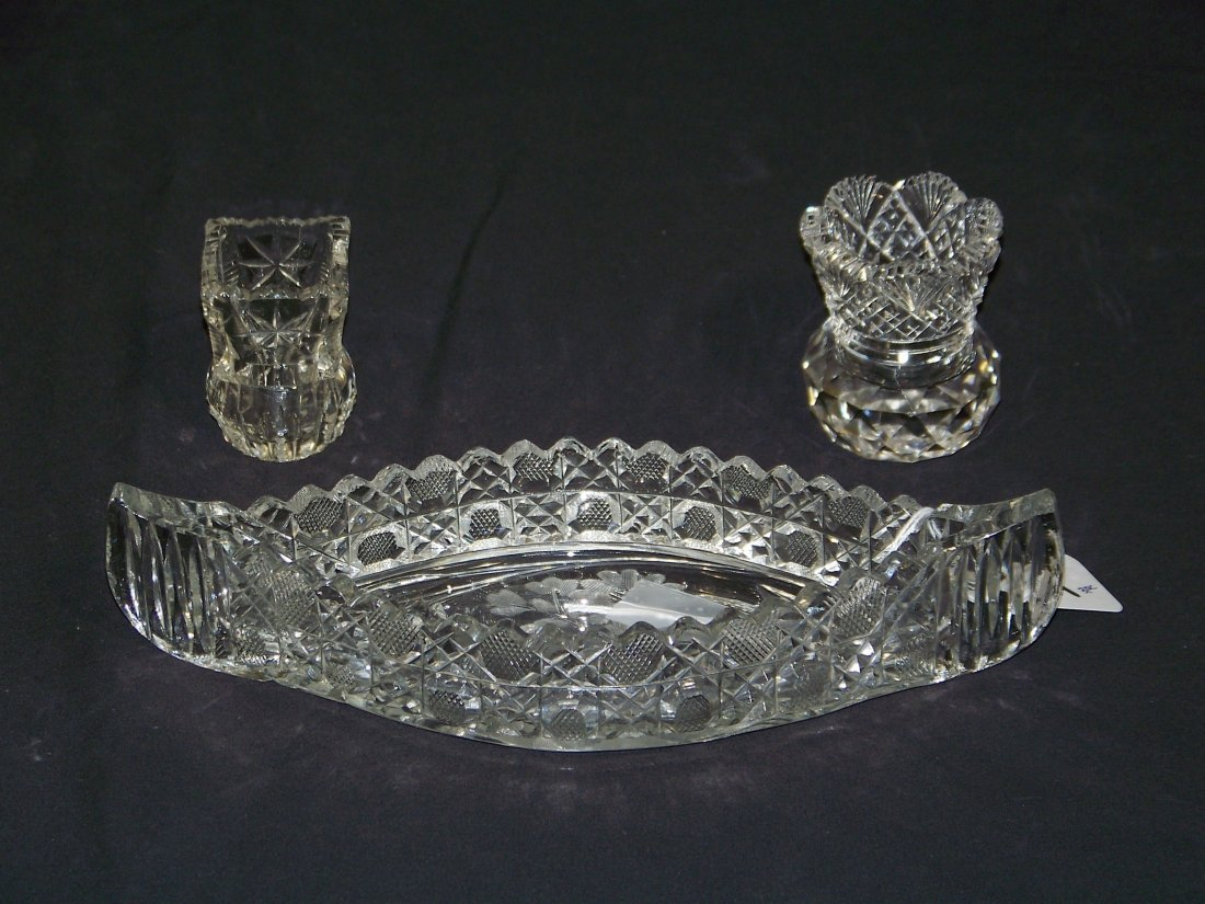 3 Antique Sharpe Cut Crystal Items,Celray Boat & 2 Toot