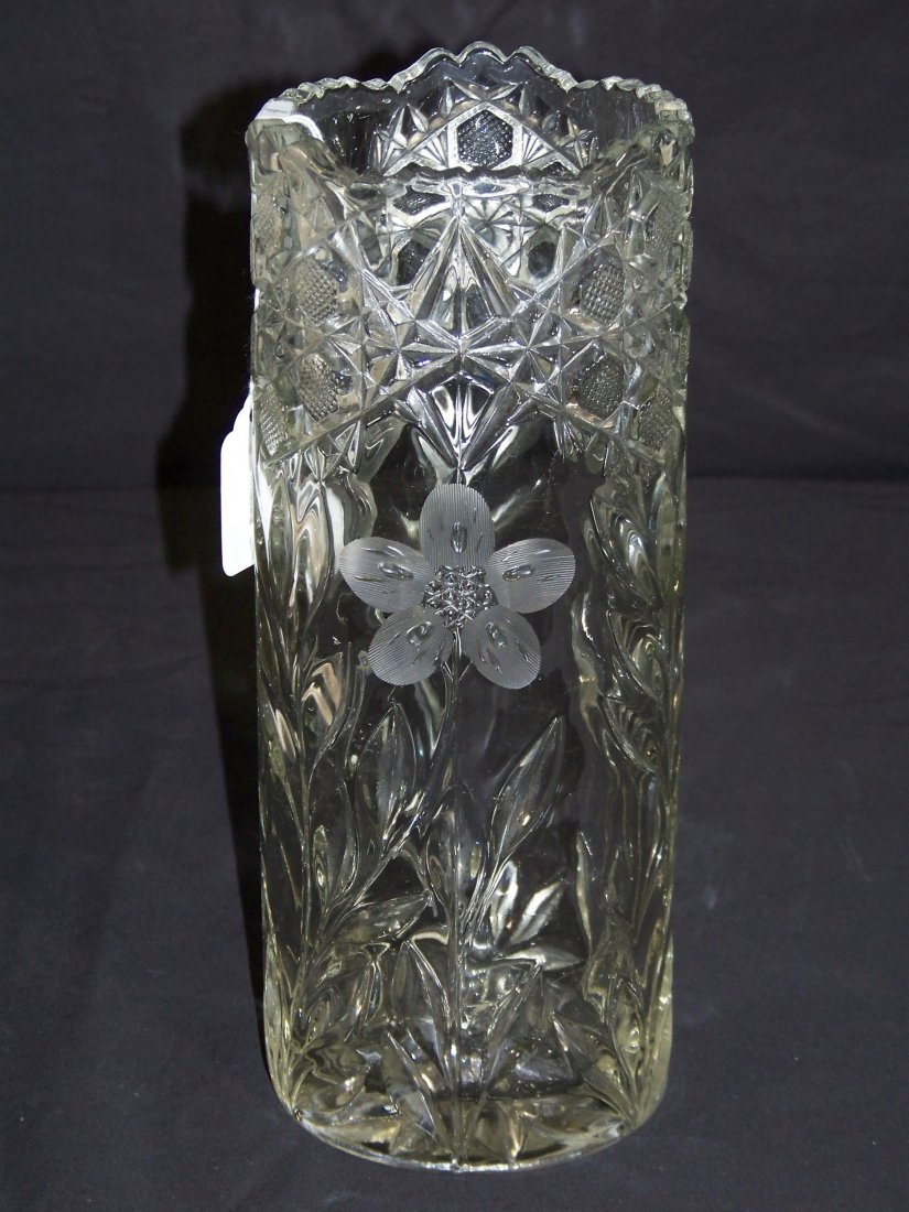 "Antique Etched American Pressed Glass 10 1/2"" Vase"