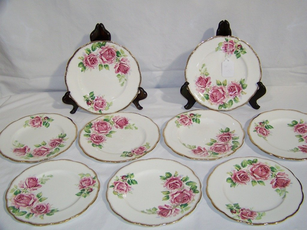 "8 Queen Anne English Bone China Plates ""Lady Margaret"" - 2"