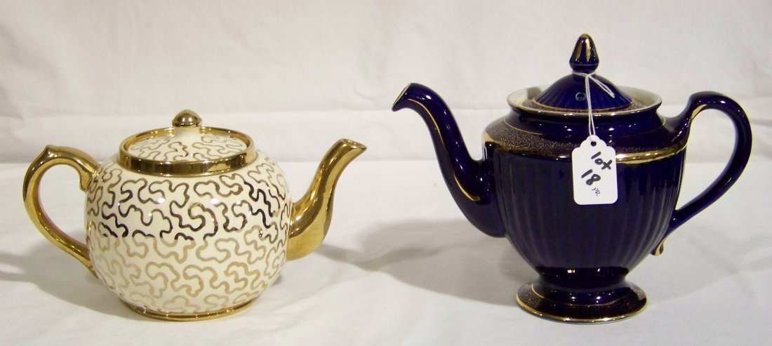 Great Pair of Early Tea Pots, Hall & Sudlow's