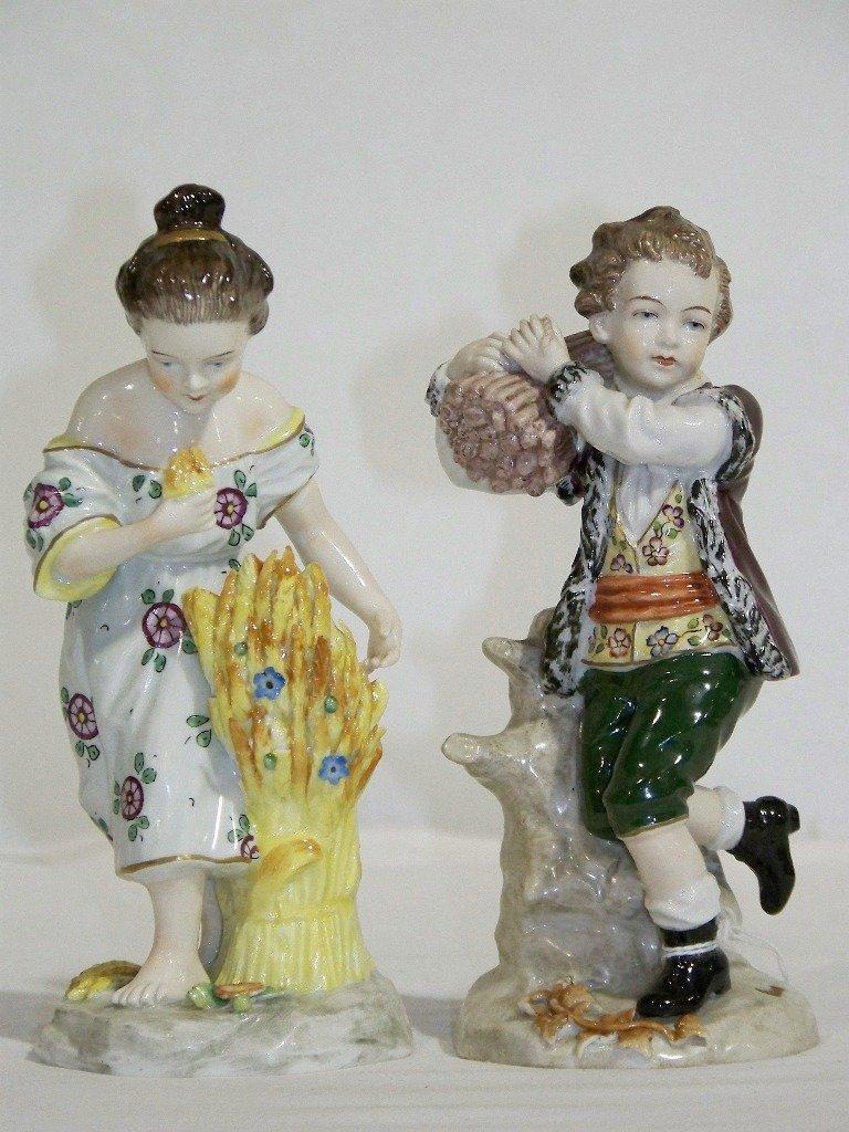 Pair Sitzendorf German Porcelain Figures,Man & Lady