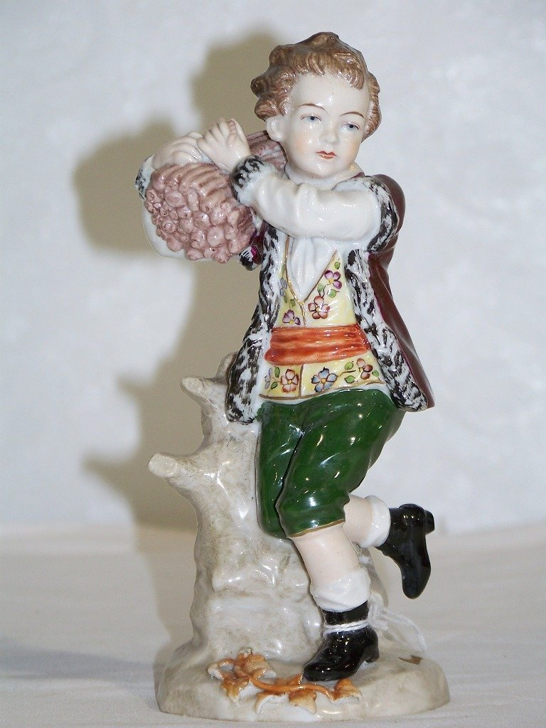 Pair Sitzendorf German Porcelain Figures,Man & Lady - 2