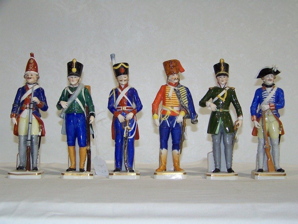 6 Sitzendorf German Porcelain Figures,English Guards