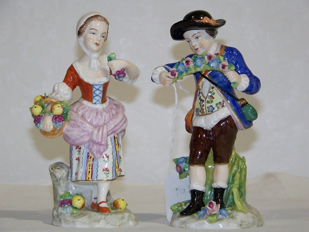Pair Sitzendorf German Porcelain Figures,Man & Lady