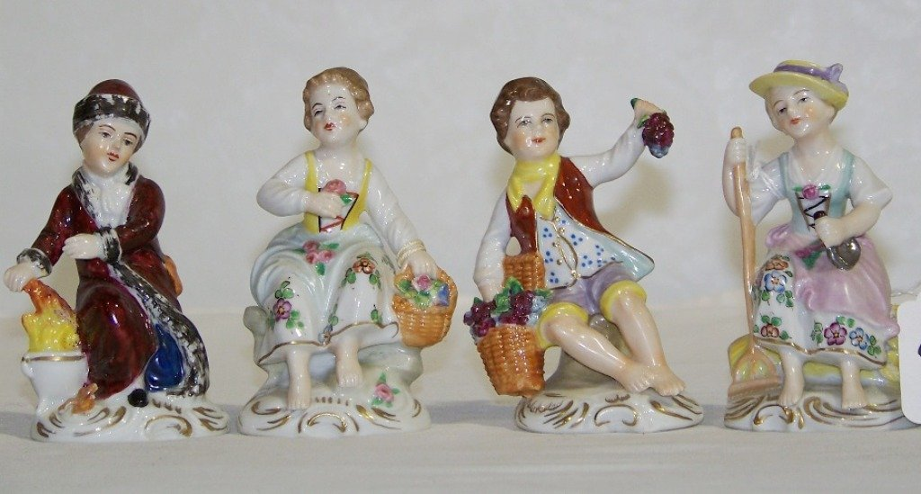 4 Sitzendorf German Porcelain Figures