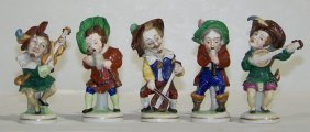 5 Early Meissen Quality Signed Porcelain Musicians