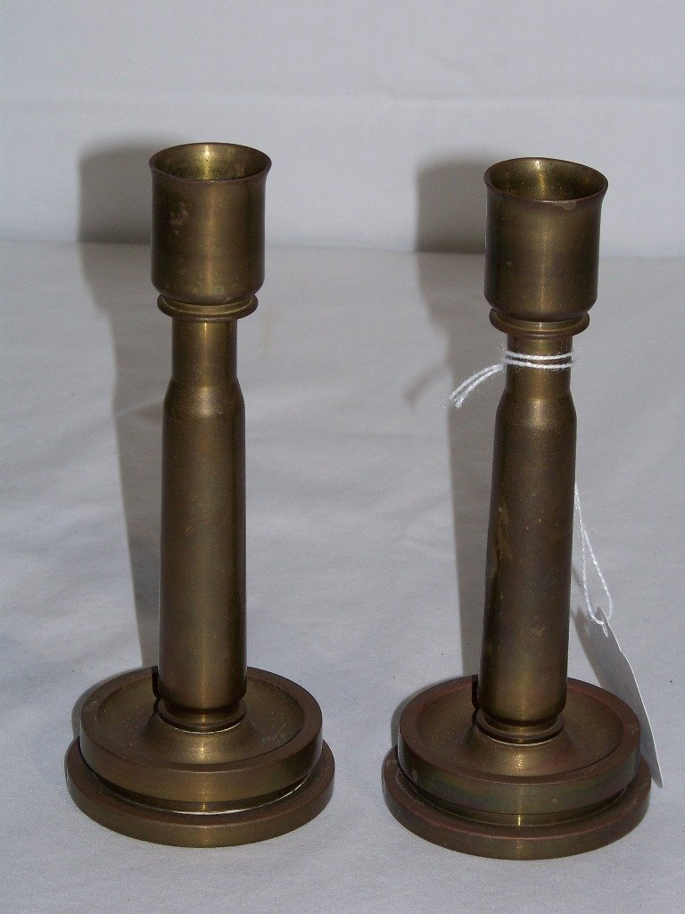 Pair of Brass 40MM Cartridge Shell Candle Holders