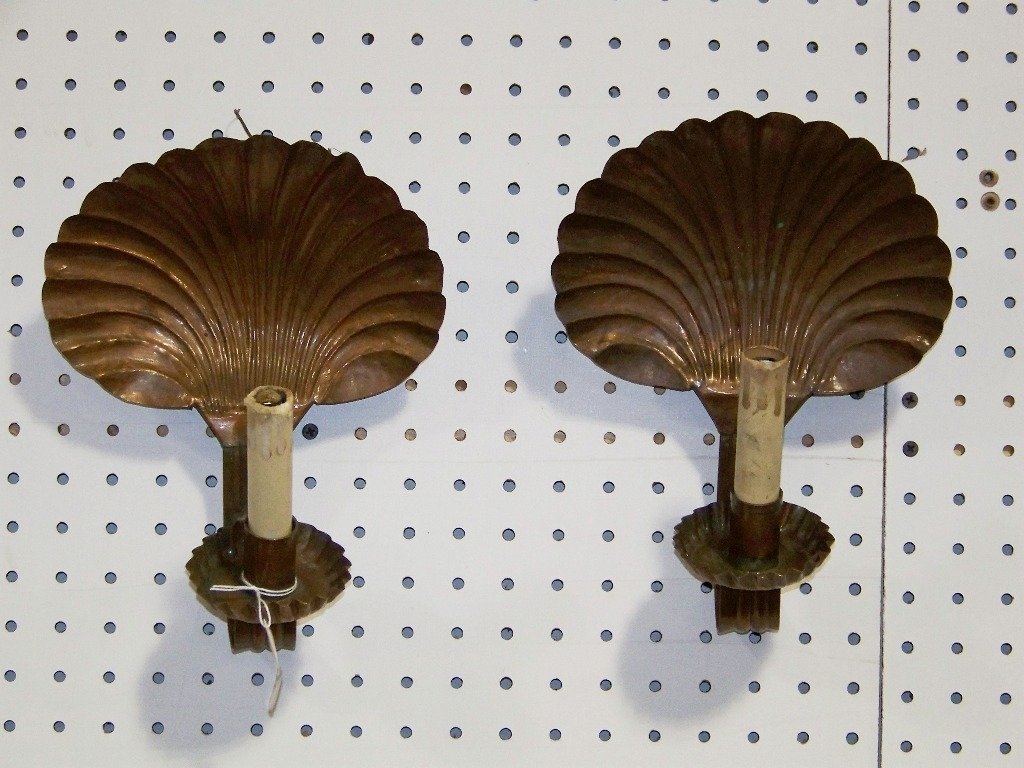 Pair 19th C. Copper Shell Back Sconces