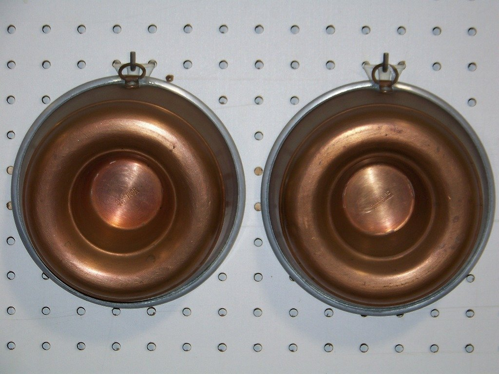 Pair Vintage Bluebird Copper Cake Molds