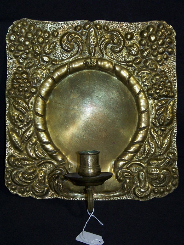19th C. Hammered Brass Sconce