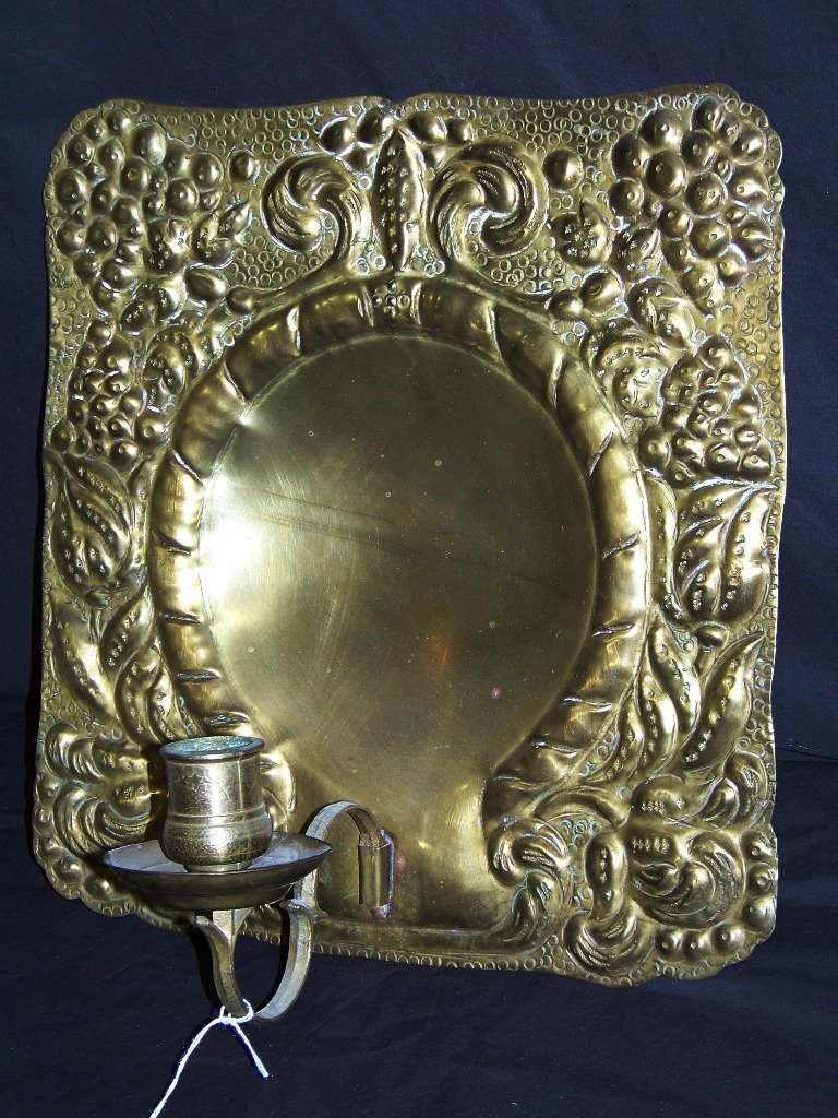 19th C. Hammered Brass Sconce - 2