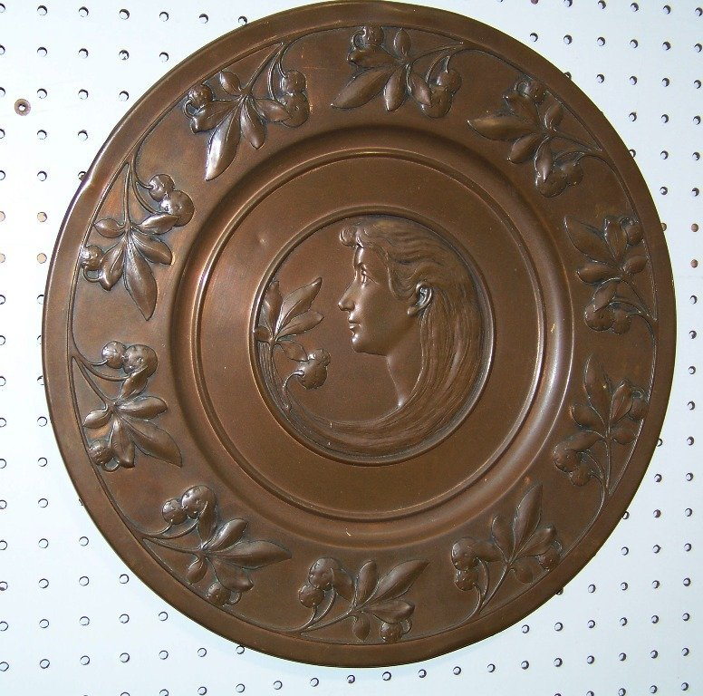 "19th C. Copper Art Novueau 17"" Charger"