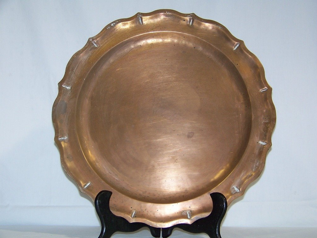 "19th C. 16 1/2"" Chippendale Style Copper Charger"