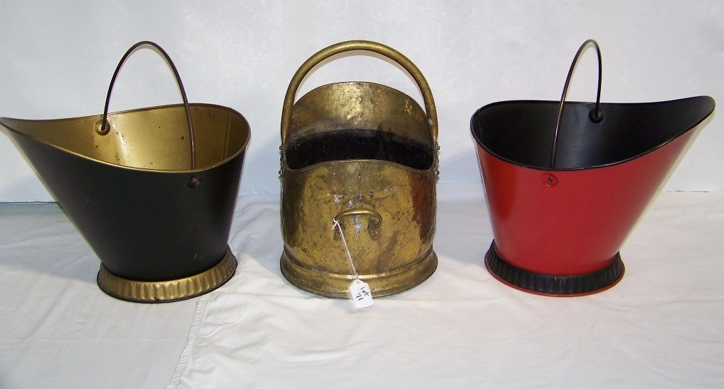 3 Vintage Handled Coal Buckets