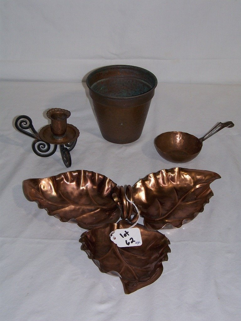 4 Early Hammered Copper Items,Candle Holder, Leaf Tray