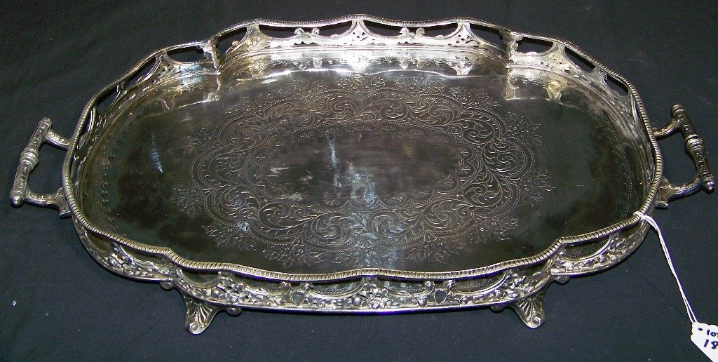 J.D. & S. CONTINENTAL SILVER RETICULATED TRAY