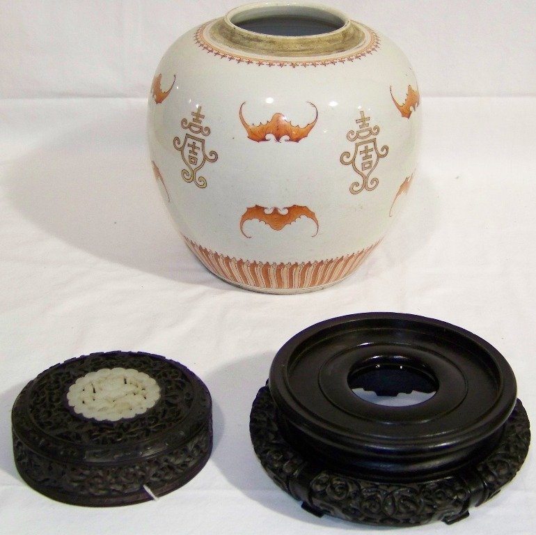 18/19th C. Chinese Ginger Jar w/Bats & White Jade Carve - 2