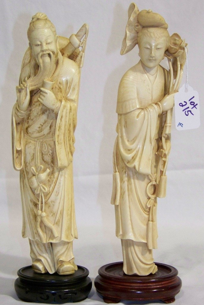 "Pr. Fine Carved Chinese Ivory 10"" Figures Quan Yin &"