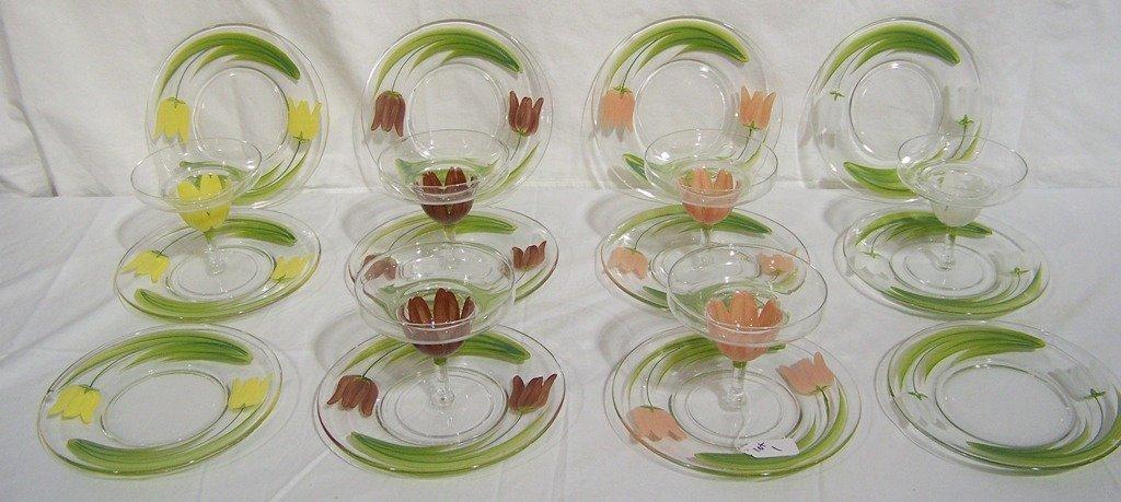 12 Vintage Franciscan Glass Plates & 6 Margarita Glass