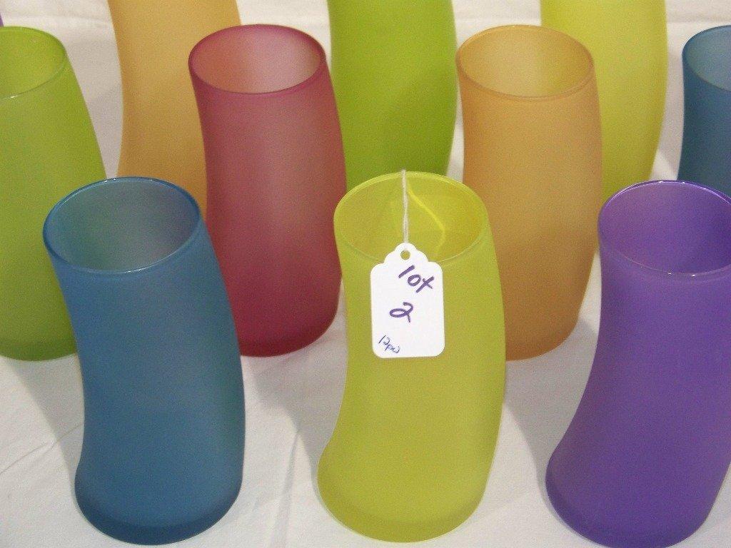 12 Mid C. Modern Funky Art Glass Ice Tea Glasses
