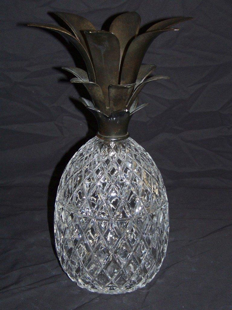 Large Modern Glass & Brass Pineapple