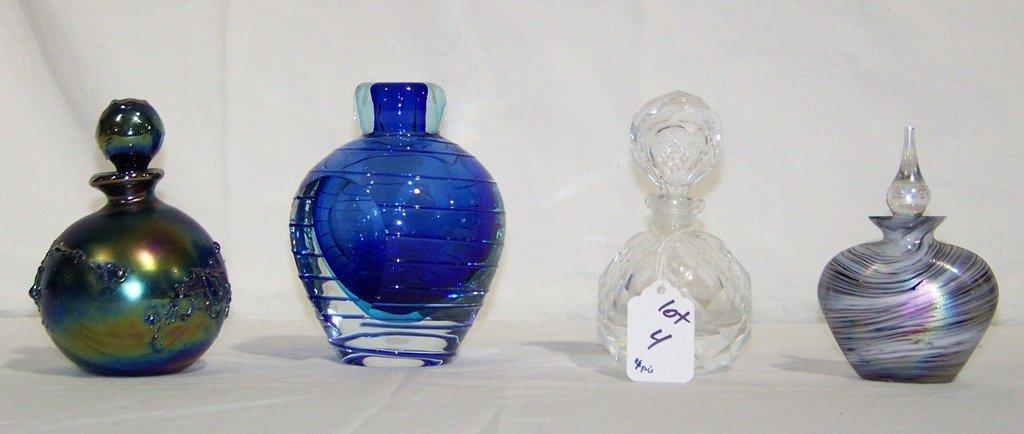 4 Vintage Art Glass & Crystal Perfume Bottles
