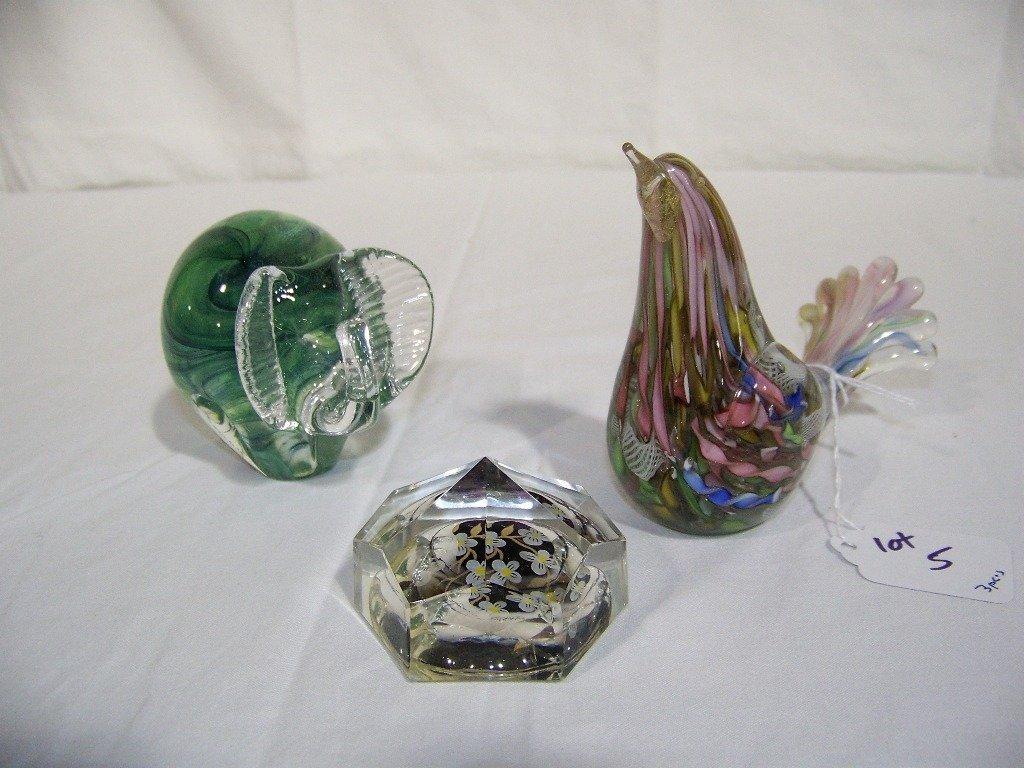 Murano Bird,Art Glass Elephant & Crystal Paperweight
