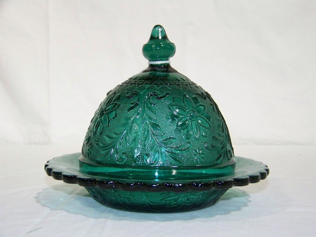 Fine Early Dark Green Depression Glass Covered Butter S