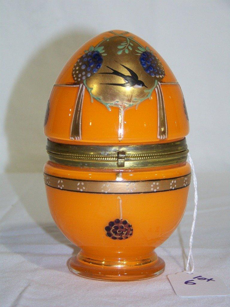 Fine Early Bohemian Enameled Glass Egg
